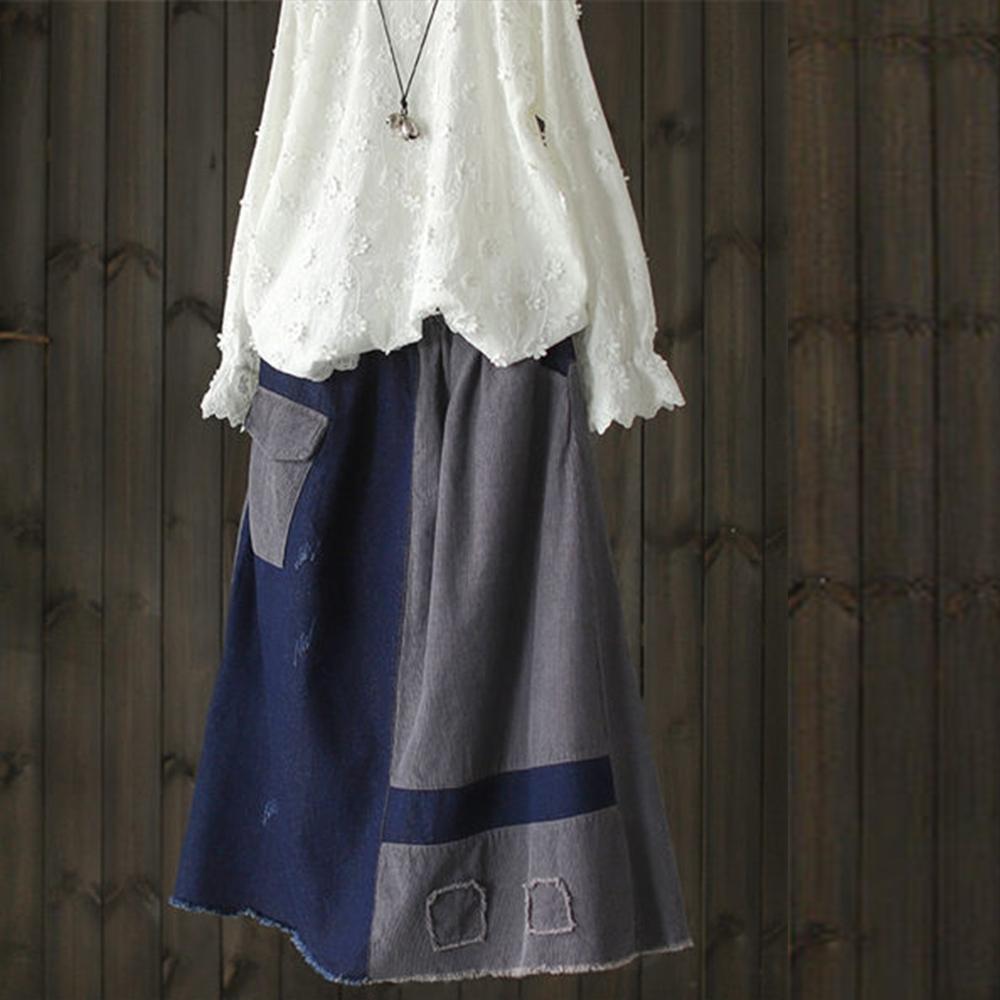 拼色毛邊貼布燈芯絨拼接鬆緊腰牛仔A字中長裙-設計所在