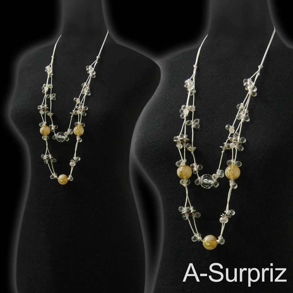 A-Surpriz 波西米亞晶球串珠長項鍊(米黃)