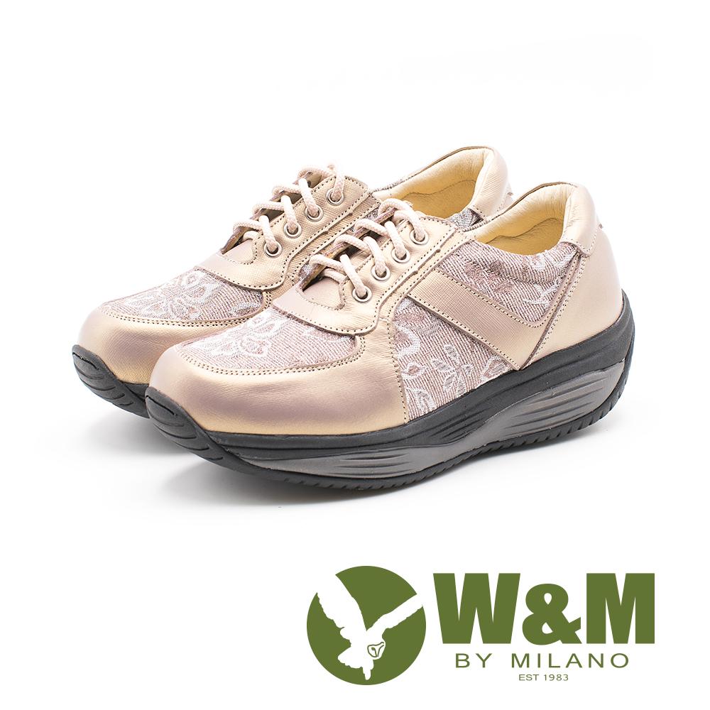 W&M FIT健走甜美運動風 彈力增高女鞋-香檳金(另有個性黑)