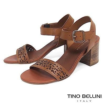 Tino Bellini 義大利進口古典雕花高跟涼鞋_ 棕