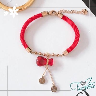 iSFairytale伊飾童話 祝福葫蘆 中國風鈦鋼紅皮繩手鍊