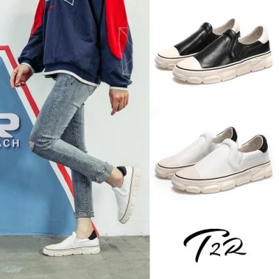 T2R-正韓空運-增高鞋真皮毛茸造型厚底樂福鞋-增高4.5cm_黑/白
