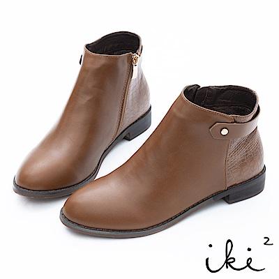 iki2 素面拼接紋路造型短靴-咖