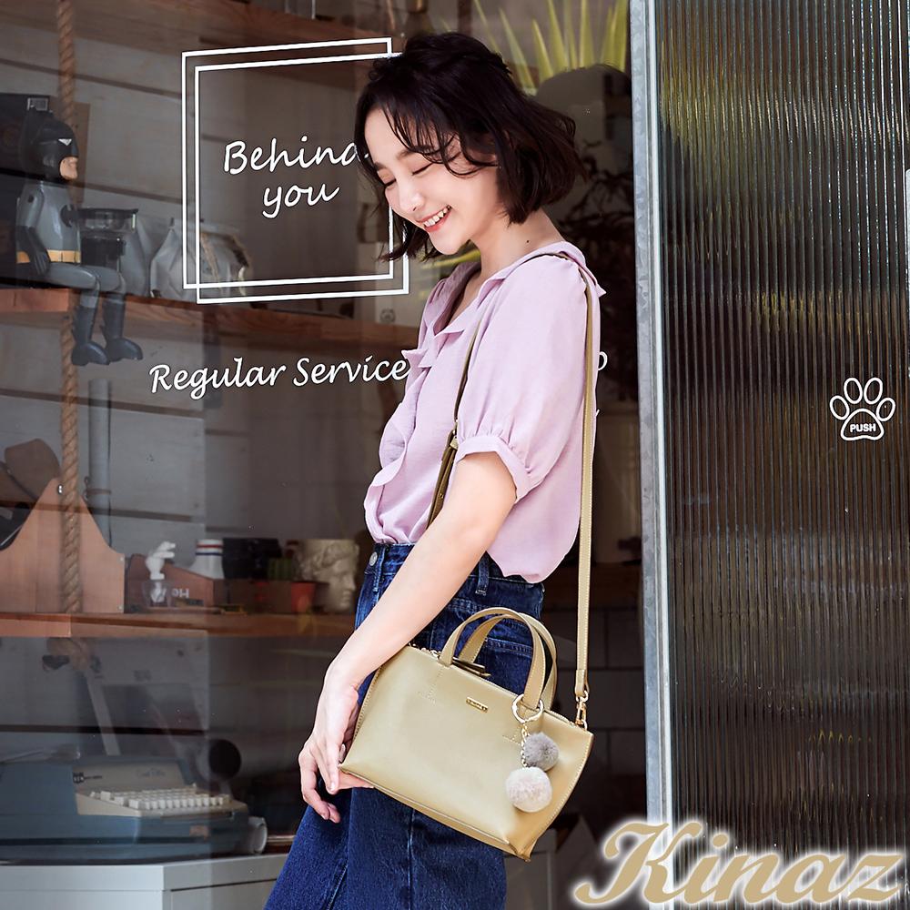 KINAZ 柔美幻化兩用斜背包-奶油棕-花魁泡芙系列