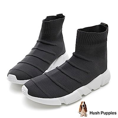 Hush Puppies Besra 中筒襪套式針織休閒鞋(男)-灰