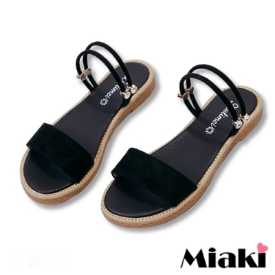Miaki-涼鞋一字造型2穿平底拖鞋-黑