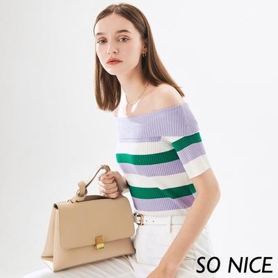 SO NICE氣質配色條紋2WAY針織上衣