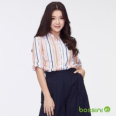 bossini女裝-棉麻反折袖印花罩衫02白