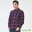 bossini男裝-長袖法蘭絨格紋襯衫01黑