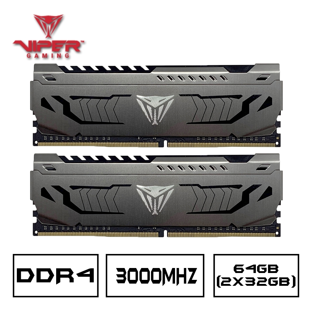 VIPER蟒龍 STEEL DDR4 3000 64GB(2x32G)桌上型記憶體