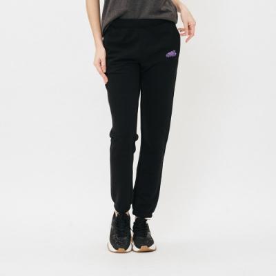女裝Roots-立體繡線毛圈布休閒棉褲-黑