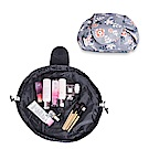 DF生活趣館 - 韓風抽繩多功能懶人化妝收納包-灰色花朵