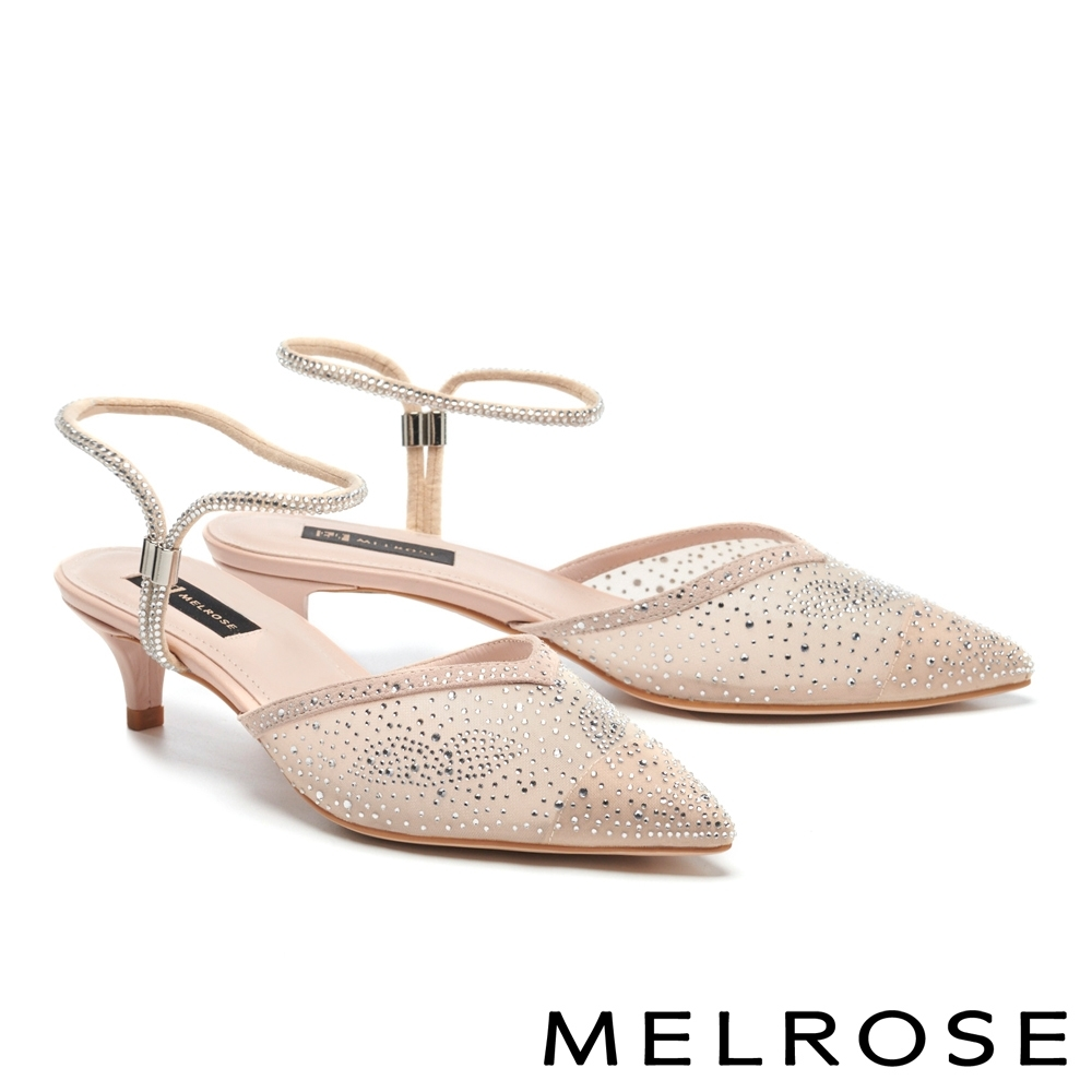 低跟鞋 MELROSE 時髦閃耀晶鑽透膚網紗尖頭低跟鞋-米