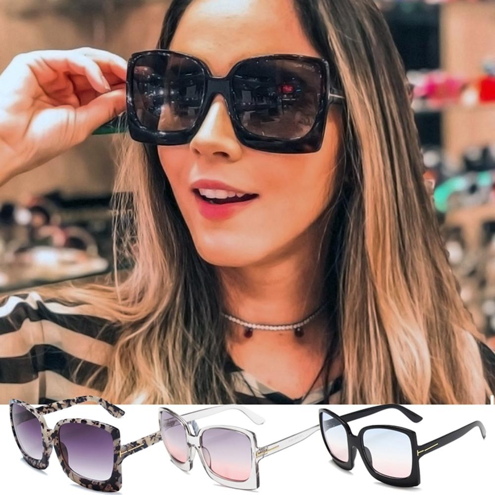 BeLiz 狂野粗框 潮流透明漸層方框墨鏡 3色可選
