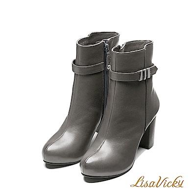 LisaVicky保暖內鋪毛環扣皮革粗高跟短靴-灰色