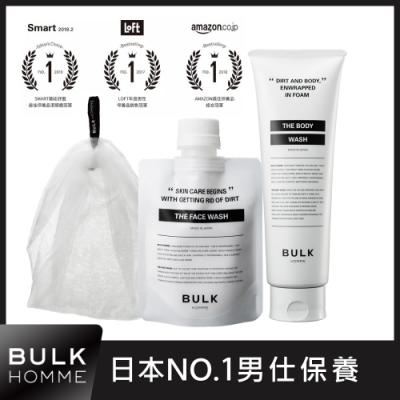 BULK HOMME 本客    潔顏霜+沐浴霜 贈起泡網 (男仕泡沫洗沐組)