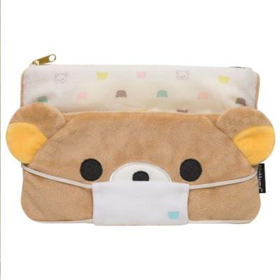 拉拉熊滿滿懶熊生活系列毛絨萬用收納包。懶熊帶口罩 San-X
