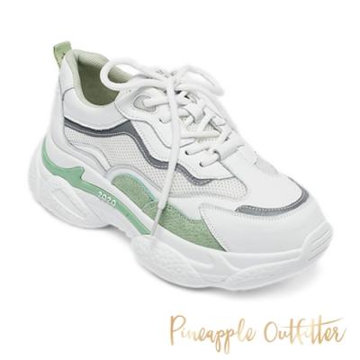 Pineapple Outfitter 潮流款拼接厚底老爹鞋-白色