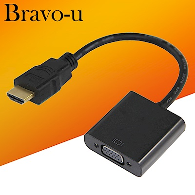 Bravo-u HDMI(公) to VGA(母) 鍍金接頭轉接器15cm (黑)