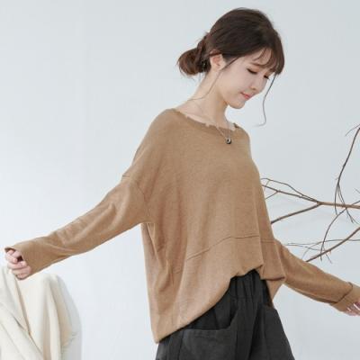 慢 生活 造型不規則設計質感針織上衣- 卡其色