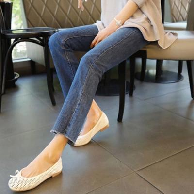 2F韓衣-鬆緊腰毛邊造型顯瘦牛仔褲-藍(XL-4XL)