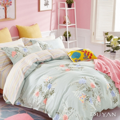 DUYAN竹漾 100%精梳純棉 雙人加大四件式舖棉兩用被床包組-清舞悠然 台灣製