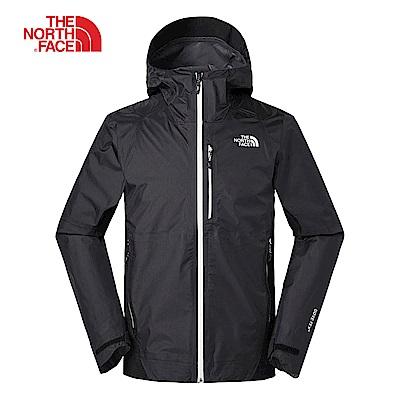The North Face北面男款黑色防水透氣衝鋒衣|3V84JK3