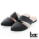 【bac】紐約不夜城 - 摩登復古拼色兩截式穆勒鞋半包平底鞋-黑色