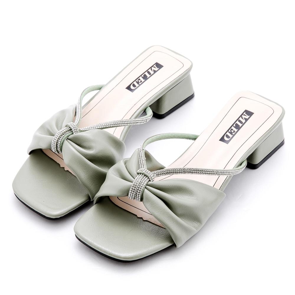 River&Moon涼鞋 寬版軟皮朵結鍊鑽方頭低跟拖鞋 綠