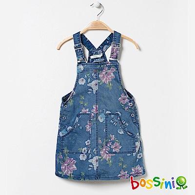 bossini女童-印花丹寧背心吊帶裙01淺藍