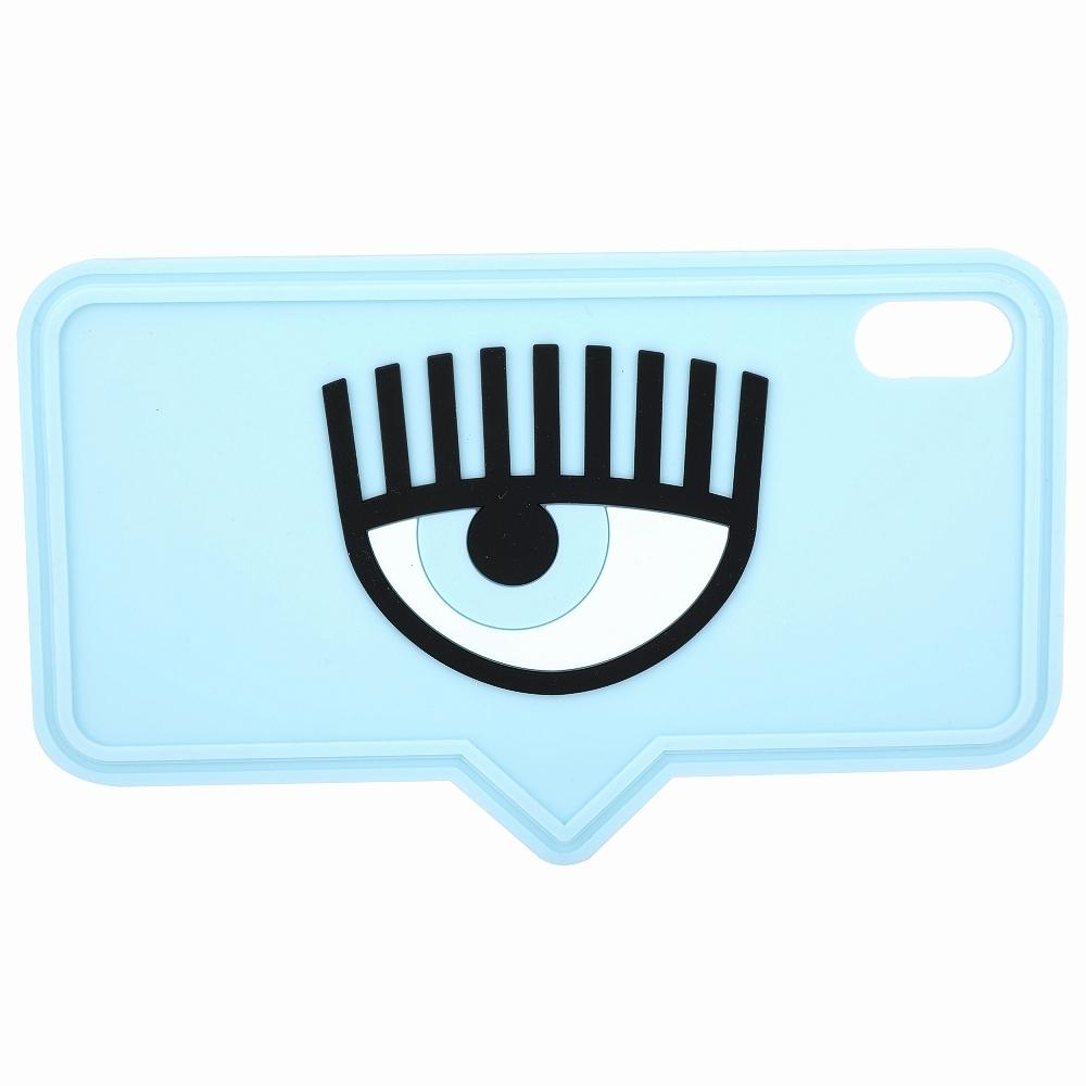 Chiara Ferragni iPhone XS Max 眼睛對話框造型手機保護套(天藍色)