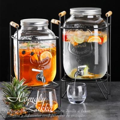 Homely Zakka享樂食光大容量浮雕玻璃桶調酒/飲料桶(經典圖標款4L)贈鐵桶飲料架