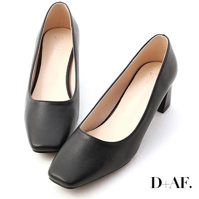 D+AF 輕透春氛.素面方頭中跟鞋*黑