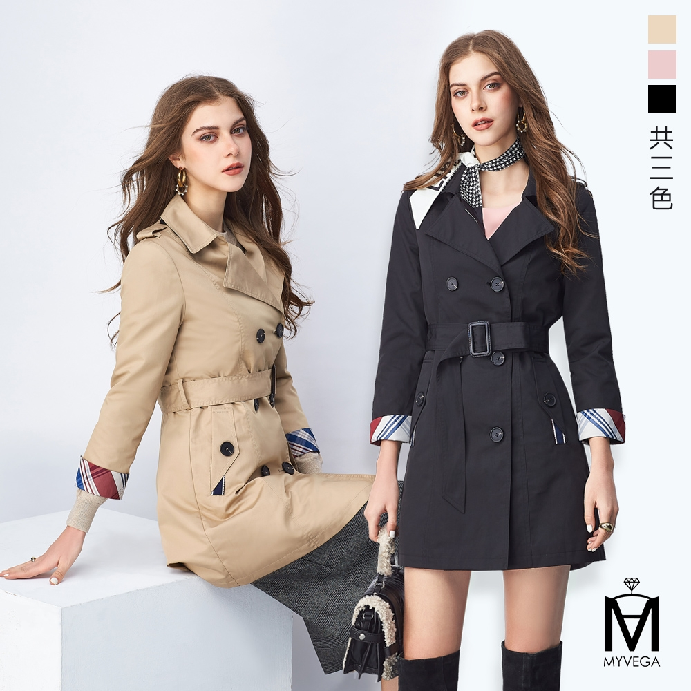 MYVEGA麥雪爾 MA雙排釦長版風衣外套-三色任選