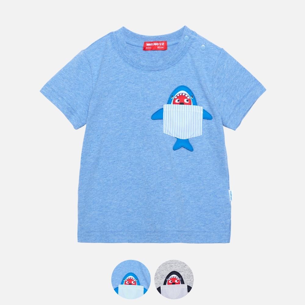 WHY AND 1/2 mini 花紗棉質萊卡T恤-親子裝 多色可選 1Y ~ 4Y (藍色)