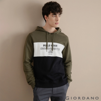 GIORDANO 男裝CHECKS連帽T恤 - 61 葡萄葉綠x皎雪x標誌黑