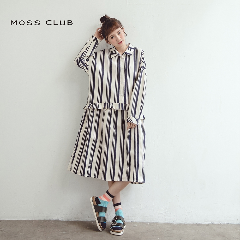 【MOSS CLUB】條紋腰部波浪長版襯衫-連身裙(二色)