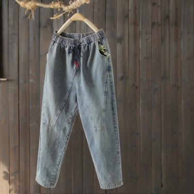純棉做舊抽繩鬆緊腰牛仔褲寬鬆九分哈倫褲-設計所在