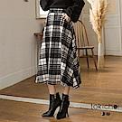 東京著衣 浪漫後鬆緊經典大格紋傘擺長圓裙-S.M.L(共二色)