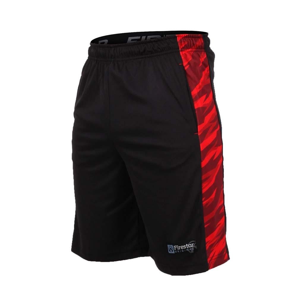 FIRESTAR 男籃球短褲-慢跑 路跑 五分褲 黑紅