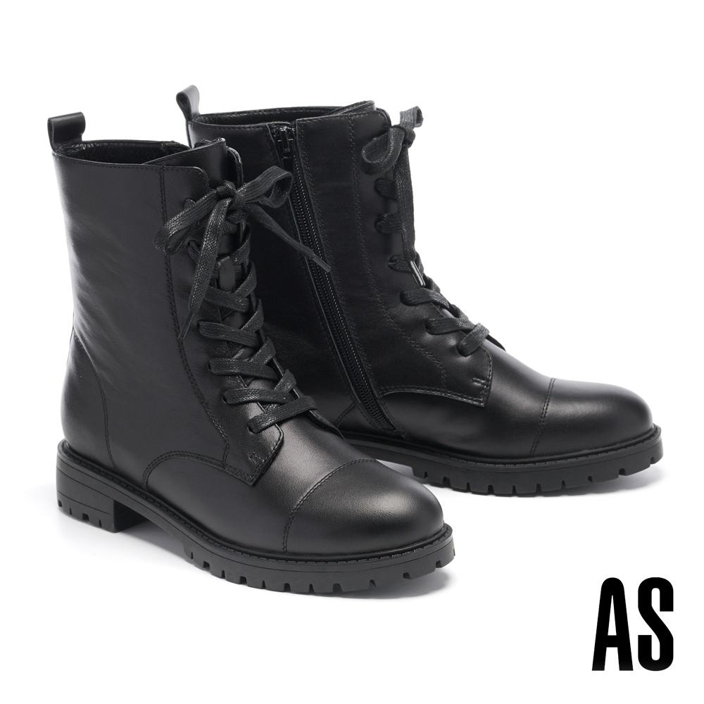 短靴 AS 時尚帥氣登山風厚底綁帶低跟短靴-黑