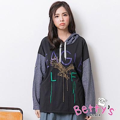 betty's貝蒂思 老鷹刺繡圓帽拼接上衣(深藍)