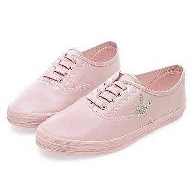 PLAYBOY潮流最IN 極簡仿皮綁帶休閒鞋-粉
