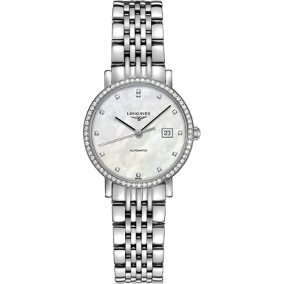 LONGINES 浪琴 Elegant 系列真鑽機械女錶-珍珠貝x銀/29mm (L43100876)