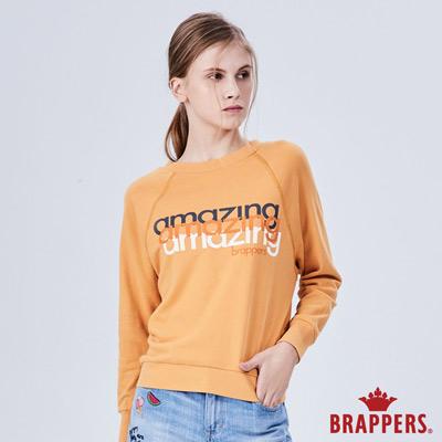 BRAPPERS 女款 三色amazing印花長袖T恤-橘黃