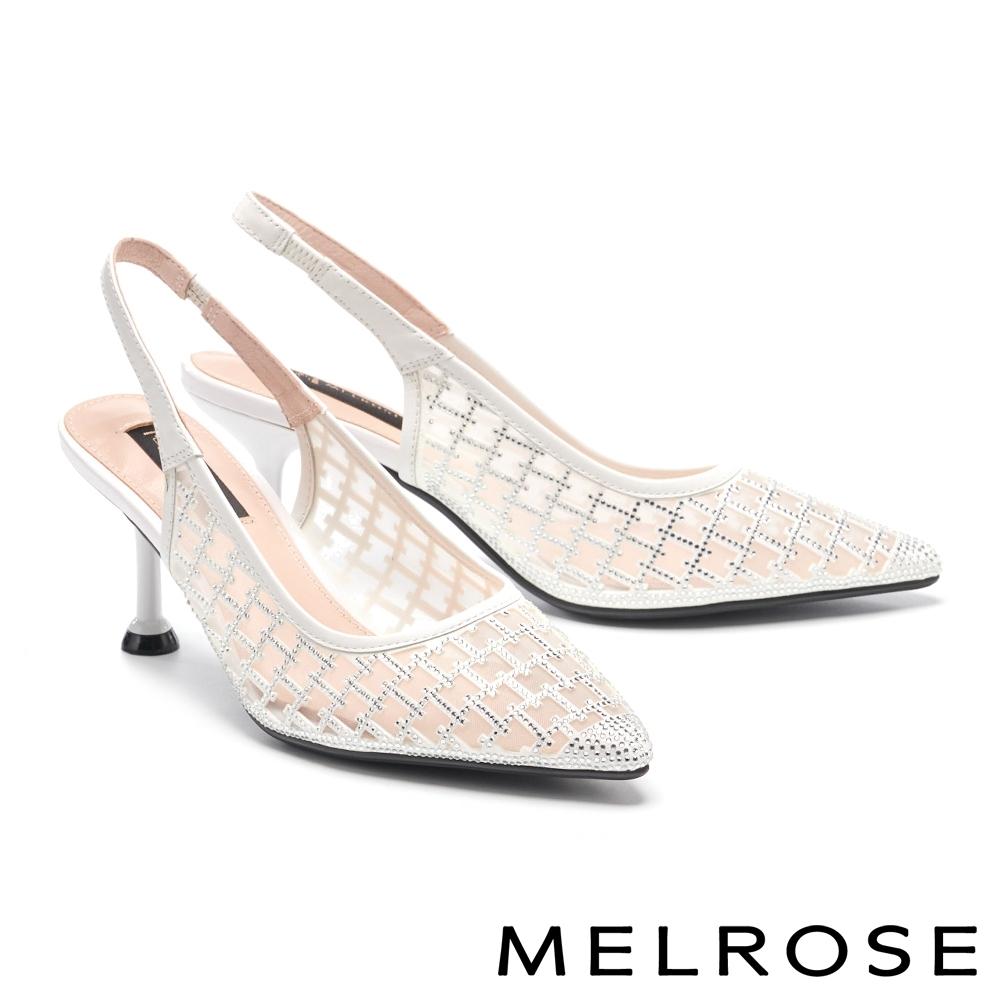 高跟鞋 MELROSE 別致高雅晶鑽網紗後繫帶高跟鞋-白