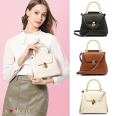 La Moda 時尚感設計木質手把大容量肩背斜背包(共3色)
