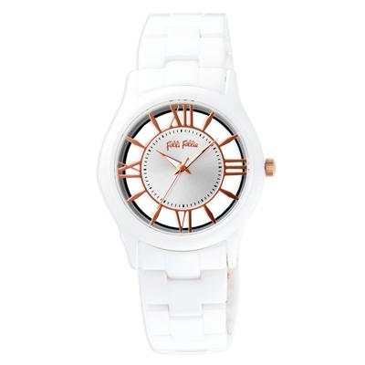 Folli Follie 閃耀光芒鏤空陶瓷腕錶-白(WF18F009BPS-XX)