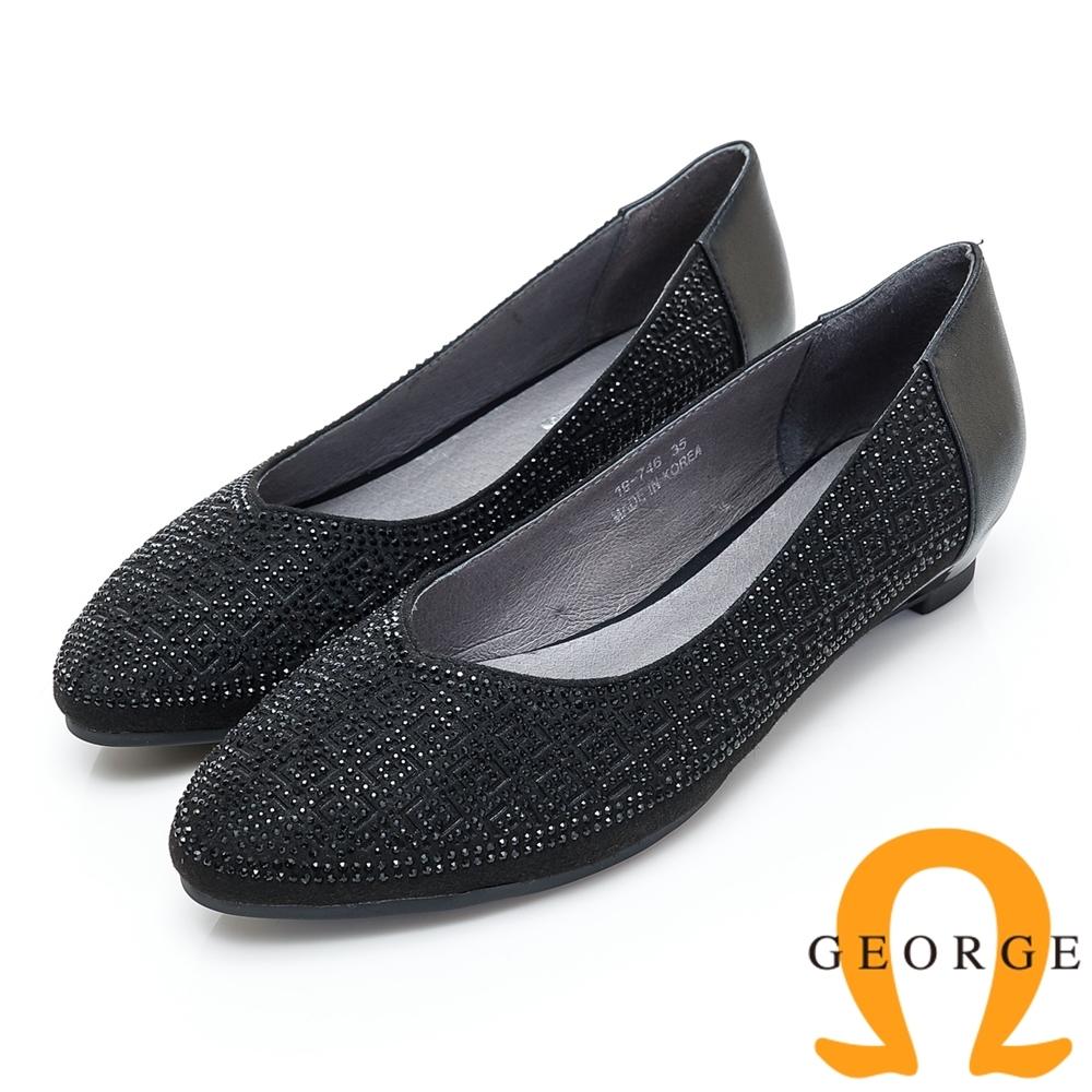 GEORGE 喬治皮鞋 幾何圖型鉚釘尖頭低跟鞋-黑色