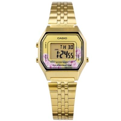 CASIO 卡西歐 浪漫玫瑰 電子數位 不鏽鋼手錶 鍍金 LA680WGA-4C 29mm